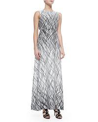BCBGMAXAZRIA Chloey Sleeveless Drip Paint Maxi Dress - Lyst