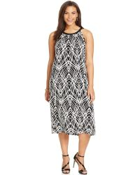 Calvin Klein Plus Size Printed Halter Midi Dress black - Lyst