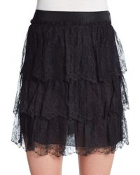 Valentino Tiered Lace Skirt - Lyst