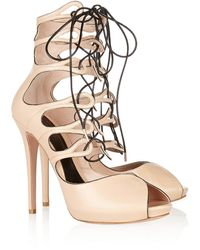 Alexander McQueen Laceup Leather Sandals - Lyst