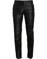Alexander McQueen Skull Motif Tailored Silk Trousers - Lyst
