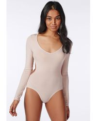 Missguided Long Sleeve Backless Bodysuit Taupe - Lyst