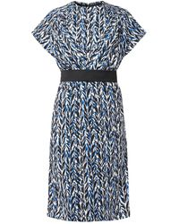 Balenciaga Belted Graphicprint Crepe Dress - Lyst