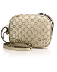 Gucci Bree Metallic Ssima Leather Disco Bag gold - Lyst