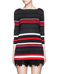 St. John | 'salins Stripe' Split Button Hem Knit Tunic | Lyst