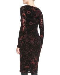 Jean Paul Gaultier Laceprint Longsleeve Dress with Velvet - Lyst