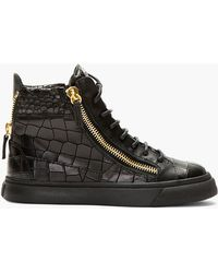 Giuseppe Zanotti Black Croc_embossed Leather London Sneakers - Lyst