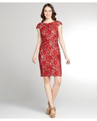 Kay Unger Red and Nude Lace Cap Sleeve Dress - Lyst