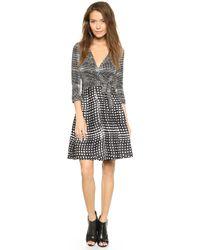 Diane Von Furstenberg Amelia Two Wrap Dress Optic Plaid Blackoptic Plaid - Lyst