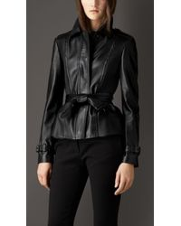 Burberry Ribbed Panel Lambskin Peplum Jacket - Lyst
