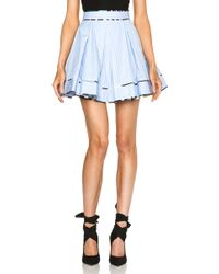 MSGM Contrast Piping Skirt blue - Lyst