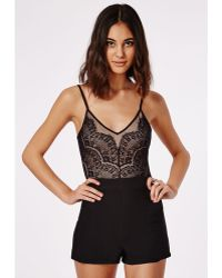 Missguided Strappy Lace Overlay Playsuit Black - Lyst