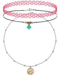Topshop Peace Charm Tattoo Choker Pack Purple - Lyst