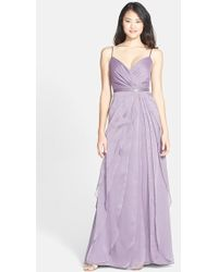 Adrianna Papell Tiered Chiffon Gown - Lyst
