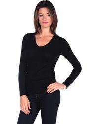 Majestic Long Sleeve Cotton/Cashmere V-Neck - Lyst