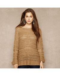 Ralph Lauren Blue Label Silk Blend Open Knit Sweater - Lyst