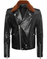 Alexander McQueen Leather Jacket With Shearling Collar - Lyst