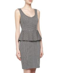 Nanette Lepore Sleeveless Pinstriped Peplum Jersey Dress - Lyst