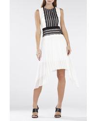 BCBGMAXAZRIA Adelyn Sleeveless Pleated-Skirt Lace-Trim Dress - Lyst