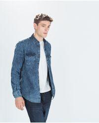 Zara Denim Shirt - Lyst