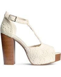 H&M Platform Sandals beige - Lyst