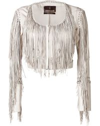 Roberto Cavalli Leather Fringed Jacket - Lyst
