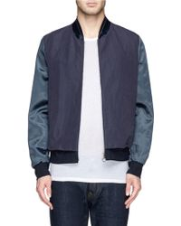 Paul Smith Satin Sleeve Cotton-Ramie Bomber Jacket - Lyst