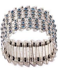 Lucky Brand - Silver-Tone Blue Stone Stretch Bracelet - Lyst