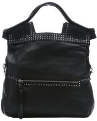 Foley + Corinna Black Leather Studded 'Moto Mid City' Convertible Tote Bag - Lyst