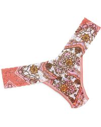 Hanky Panky Low-Rise Scarf-Print Lace Thong - Lyst