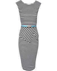 Jane Norman Striped Peplum Dress - Lyst