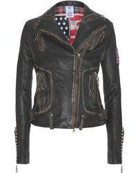 True Religion Leather Biker Jacket - Lyst