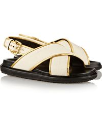 Marni Canvas And Metallic Leather Sandals - Lyst