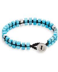 Tateossian Turquoise Double-Cube Macramé Button Bracelet - Lyst