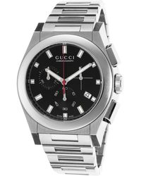 Gucci Mens Pantheon Chronograph Silvertone Steel Black Dial - Lyst