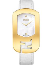 Fendi Ladies Chameleon Gold Tone Watch with Leather Strap - Lyst