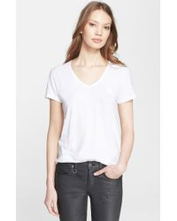 Burberry Brit Cotton V-Neck Tee - Lyst
