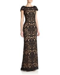 Tadashi Shoji Cord-Embroidered Lace Gown black - Lyst