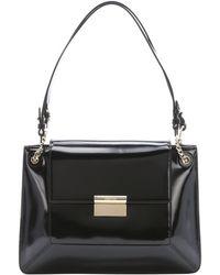 Jason Wu Black Patent Leather 'Christy' Flap Front Shoulder Bag black - Lyst