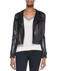 J Brand Devon Knit-trim Leather Jacket Black  - Lyst