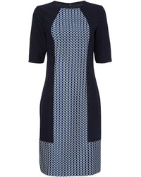 Jaeger Jacquard Panelled Dress - Lyst