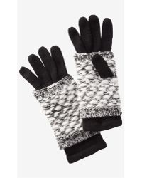 Express - Black 2-in-1 Layered Gloves - Lyst