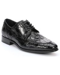 Dolce & Gabbana Black Croc-embossed Leather Oxfords - Lyst