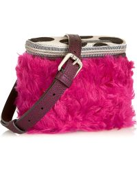 House Of Holland The It Bag Calf Hair Shearling and Metallic Leather Shoulder Bag - Lyst