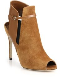 Sergio Rossi Suede & Leather Sandal Booties beige - Lyst