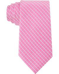 Calvin Klein Creme Windowpane Slim Tie - Lyst