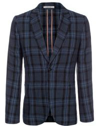 Paul Smith Black And Blue Check Linen Single-Button Blazer - Lyst