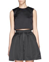 McQ by Alexander McQueen Quilted Shoulder Duchesse Satin Cropped Top - Lyst