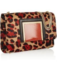Jimmy Choo Alba Leopardprint Calf Hair Shoulder Bag - Lyst