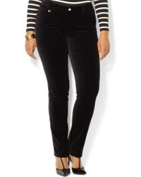 Lauren by Ralph Lauren Plus Size Stretch Velvet Skinny Pants - Lyst